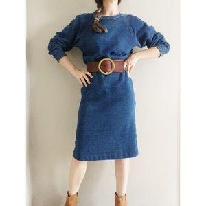 Denim Wash French Terry Sweatshirt Dress